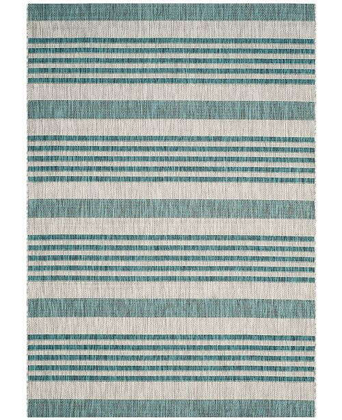 "Safavieh Courtyard Gray and Blue 6'7"" x 6'7"" Square Area Rug"
