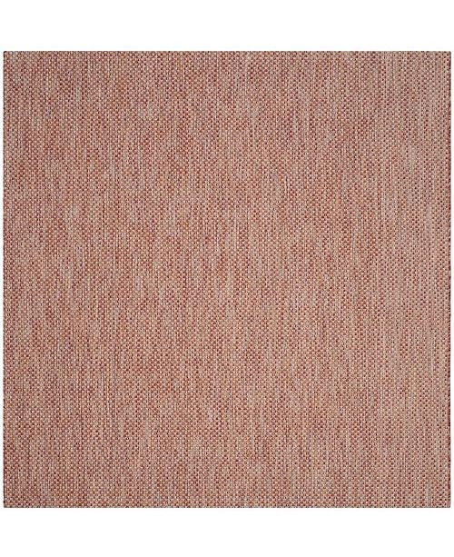 """Safavieh Courtyard Red and Beige 6'7"""" x 6'7"""" Sisal Weave Square Area Rug"""