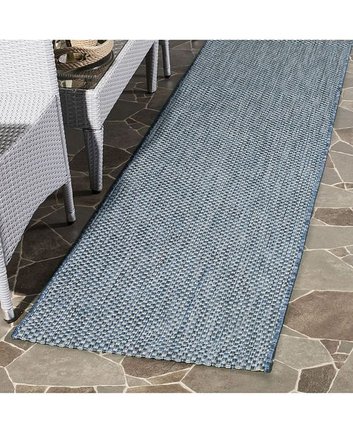 "Safavieh Courtyard Navy and Grey 2'3"" x 12' Sisal Weave Runner Area Rug"