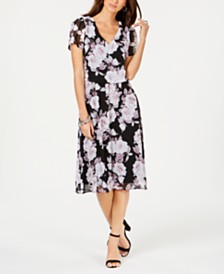 Connected Floral-Print Chiffon A-Line Dress