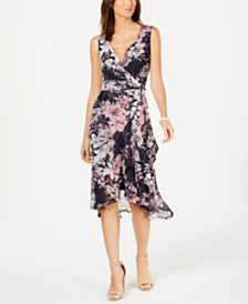 Connected Ruffled Faux-Wrap Dress