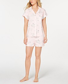 Notch Collar Top and Shorts Printed Pajama Set