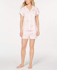 Miss Elaine Notch Collar Top and Shorts Printed Pajama Set