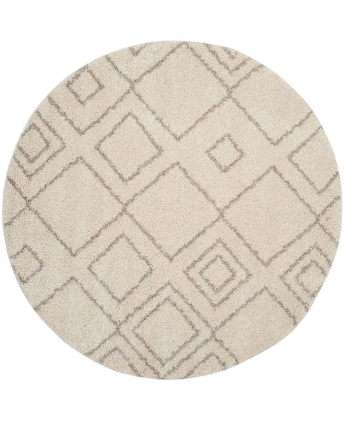"Safavieh Arizona Shag Ivory and Beige 6'7"" x 6'7"" Round Area Rug"