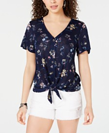 Hippie Rose Printed Tie-Hem Blouse