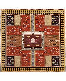 Classic Vintage Orange and Gold 6' x 6' Square Area Rug