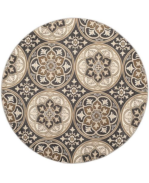 Safavieh Lyndhurst Light Gray and Beige 8' x 8' Round Area Rug