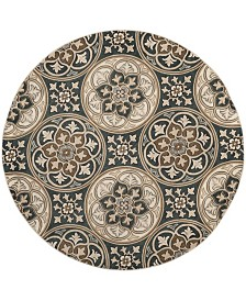 Safavieh Lyndhurst Slate Blue and Beige 8' x 8' Round Area Rug