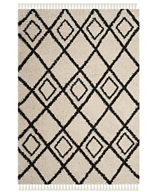 "Safavieh Moroccan Fringe Shag Cream and Charcoal 6'7"" X 6'7"" Square Area Rug"