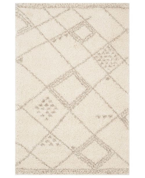 "Safavieh Arizona Shag Ivory and Gray 5'1"" x 7'6"" Area Rug"