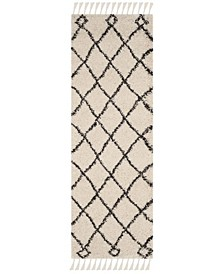 """Moroccan Fringe Shag Cream and Charcoal 2'3"""" X 9' Runner Area Rug"""