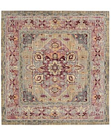 "Claremont Grape and Blue 6'7"" x 6'7"" Square Area Rug"