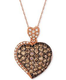"Le Vian Chocolatier® Diamond 18"" Heart Pendant Necklace (2 ct. t.w.) in 14k Rose Gold"