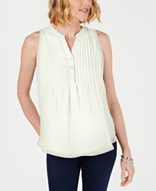Charter Club Petite Pintucked Top, Created for Macy's