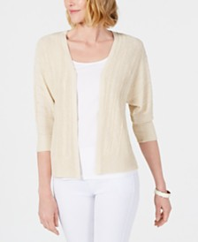 JM Collection Metallic Dolman-Sleeve Cardigan, Created for Macy's