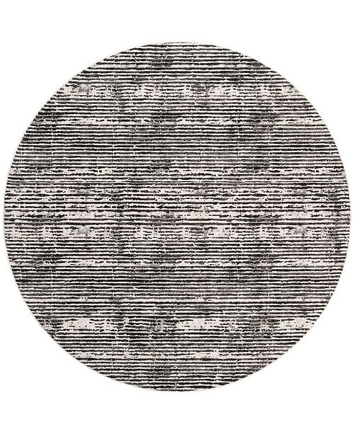 "Safavieh Lurex Black and Gray 6'7"" x 6'7"" Round Area Rug"