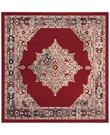 Merlot Red and Aqua 6' x 6' Square Area Rug