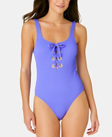 California Waves Juniors' Textured Grommet One-Piece Swimsuit, Created for Macy's