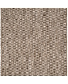 """Safavieh Courtyard Natural and Black 5'3"""" x 5'3"""" Sisal Weave Square Area Rug"""