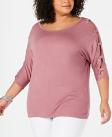 Belldini Plus Size Split-Sleeve Grommet-Trim Top