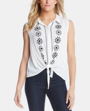 Karen Kane T-shirts EMBROIDERED TIE-FRONT SHIRT