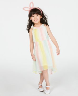 Little Girls Striped Chiffon Dress, Created for Macy's