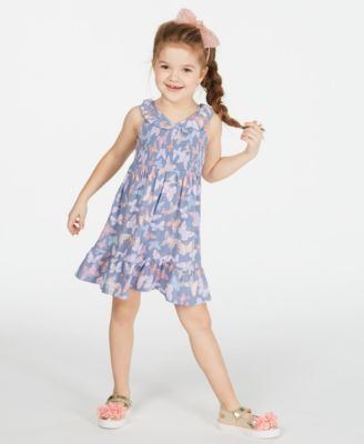 Little Girls Smocked Butterfly-Print Dress, Created for Macy's