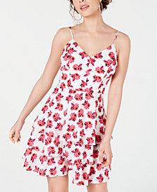 B Darlin Juniors' Printed Chiffon Tiered Dress