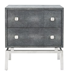 Dimitri Faux Shagreen 2 Drawer Nightstand, Quick Ship