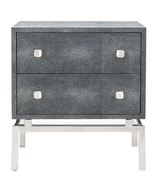 SUNDAY THEORY Dimitri Faux Shagreen 2 Drawer Nightstand, Quick Ship