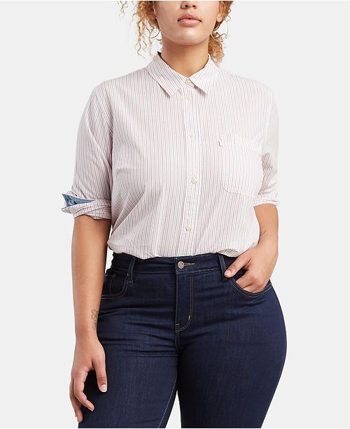 Levi's Trendy Plus Size Striped Boyfriend Shirt