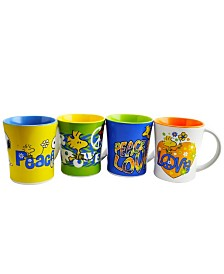 Peanuts Peace and Love 4 Piece 15 Ounce 2-Tone Assorted Mug Set