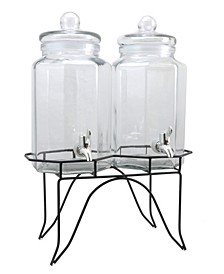 Party Duo Twin 1 Gallon Glass Beverage Dispenser with Wire Stand