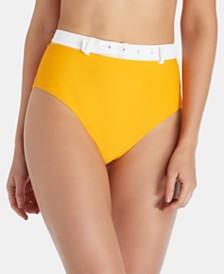 Raisins Juniors' West Coast Tropics High-Waist Belted Bikini Bottom