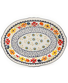 "14"" Serving Platter Oval Hand Painted Stoneware"