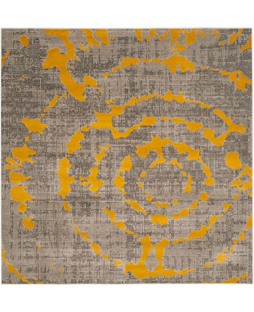 "Safavieh Porcello Light Gray and Yellow 6'7"" x 6'7"" Square Area Rug"
