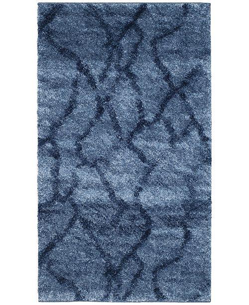 "Safavieh Retro Blue and Dark Blue 2'6"" x 4' Area Rug"