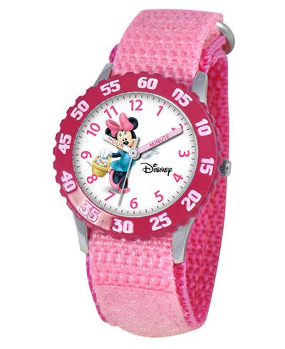 Disney Watch, Kid's Minnie Mouse Time Teacher Pink Velcro Strap 31mm W000024