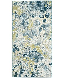 """Watercolor Ivory and Light Blue 2'7"""" x 5' Area Rug"""