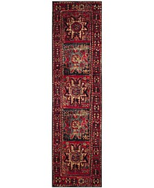 "Vintage Hamadan Red and Multi 2'2"" x 6' Runner Area Rug"