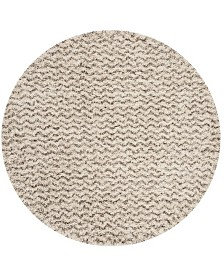 Safavieh Hudson Ivory and Gray 5' x 5' Round Area Rug