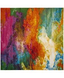 "Watercolor Orange and Green 5'3"" x 5'3"" Square Area Rug"