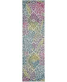 "Watercolor Ivory and Fuchsia 2'2"" x 10' Runner Area Rug"