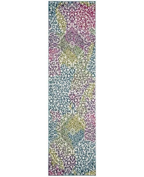 "Safavieh Watercolor Ivory and Fuchsia 2'2"" x 10' Runner Area Rug"