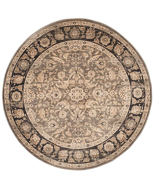 "Safavieh Vintage Taupe and Black 6'7"" x 6'7"" Round Area Rug"