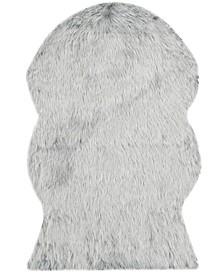 Faux Sheep Skin Light Gray 4' X 6' Area Rug