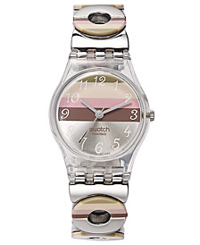 Swatch Watch, Women's Swiss Multi-Colored Enamel Stainless Steel Link Bracelet 25mm LK258G