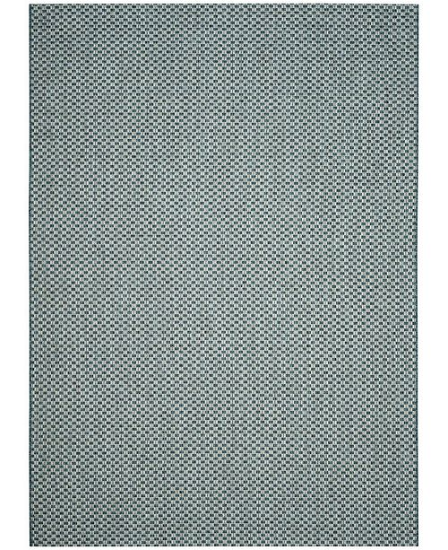 "Safavieh Courtyard Turquoise and Light Gray 6'7"" x 9'6"" Sisal Weave Area Rug"
