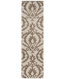 "Safavieh Shag Cream and Beige 2'3"" x 8' Runner Area Rug"