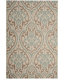 "Martha Stewart Collection Beige and Aqua 5'3"" x 7'7"" Area Rug, Created for Macy's"